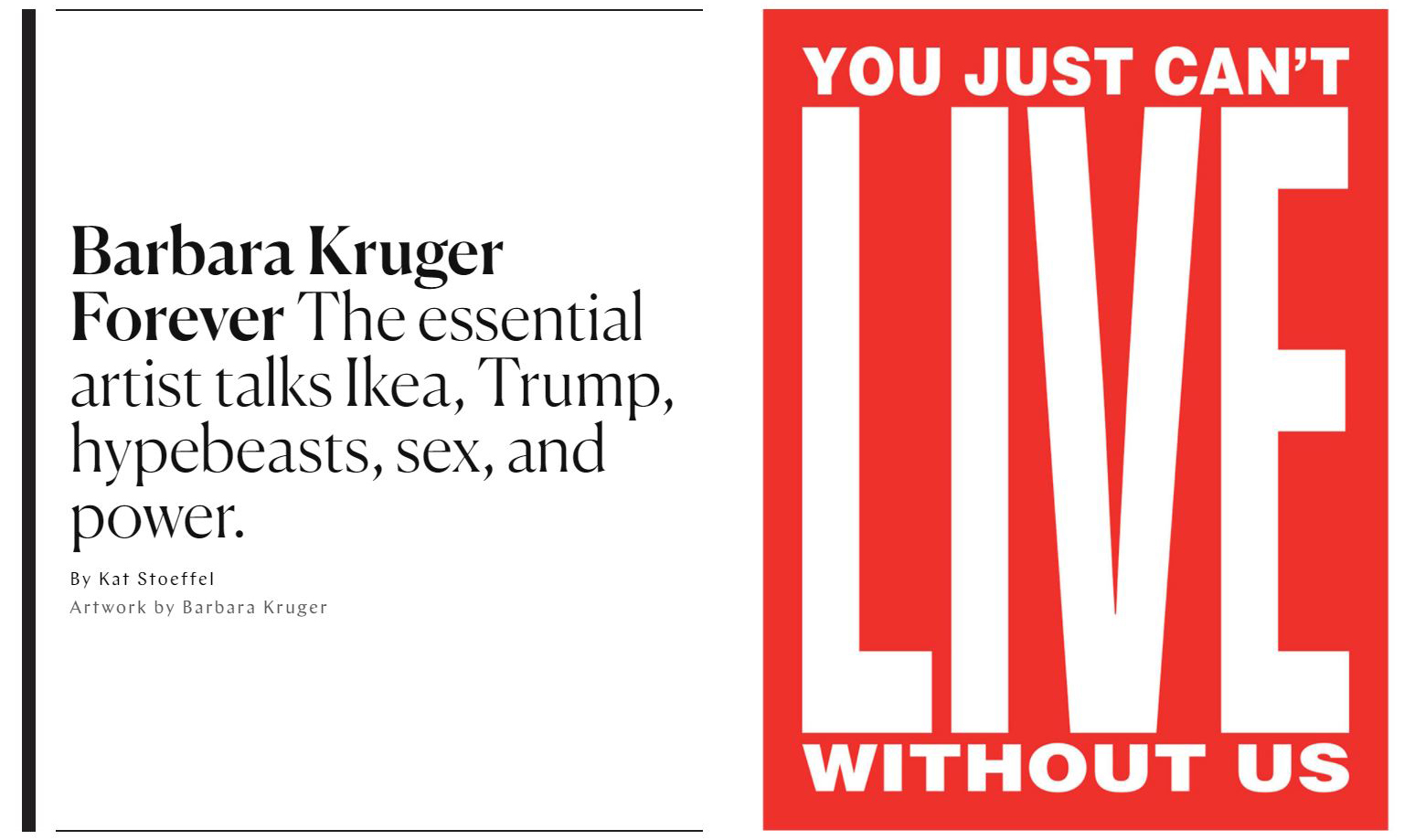 Barbara Kruger in New York Magazine