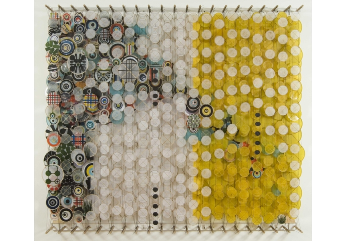 Jacob Hashimoto Submerged Yellow Rectangle