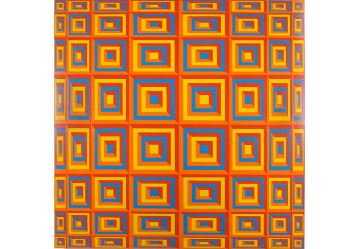 Jim Isermann Untitled (yellow 116, orange 1505,  red 179, blue 2925)