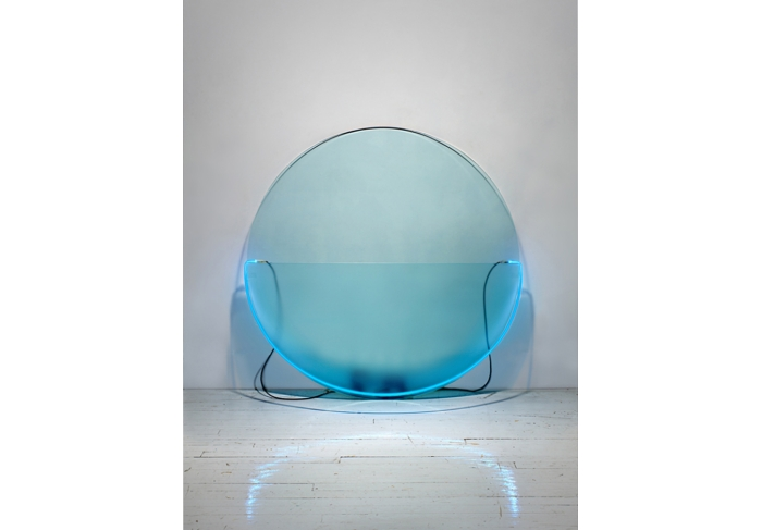 Keith Sonnier Lit Circle Blue with Etched Glass